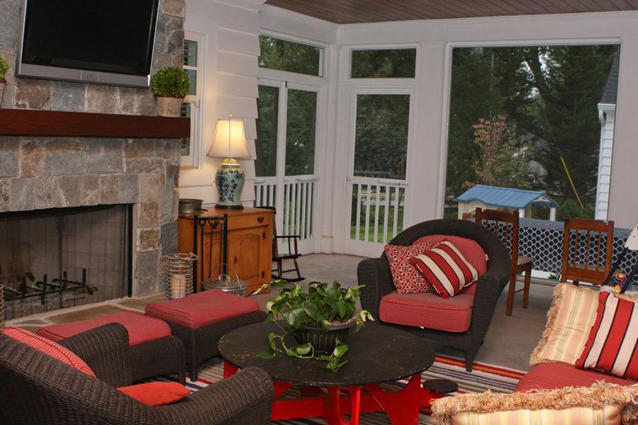 cozy porch of custom home